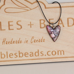 Hand-Painted Pink Heart Pendant