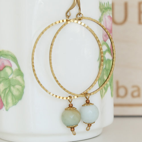 Brass Wired Hoop Earrings Amazonite