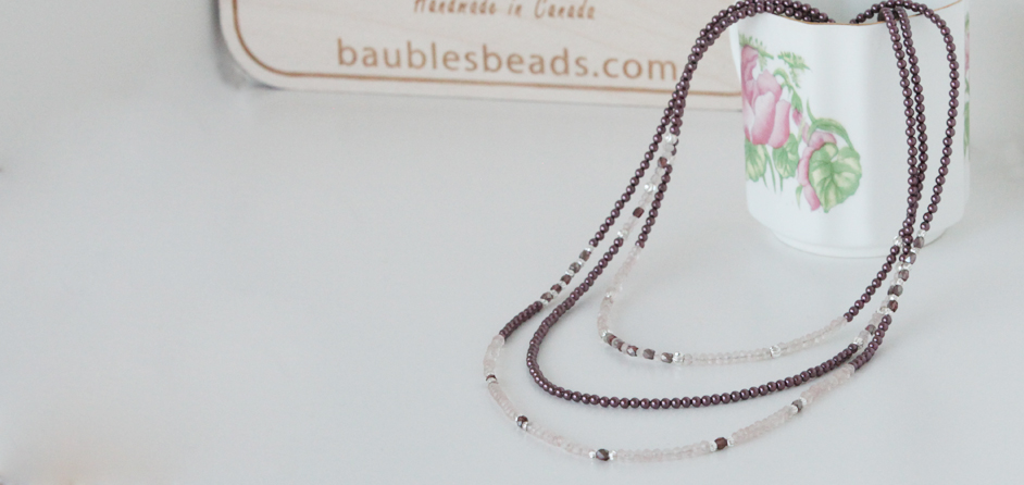 Rose quartz triple strand necklace