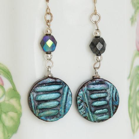 Mandala Blue Hippie Earrings