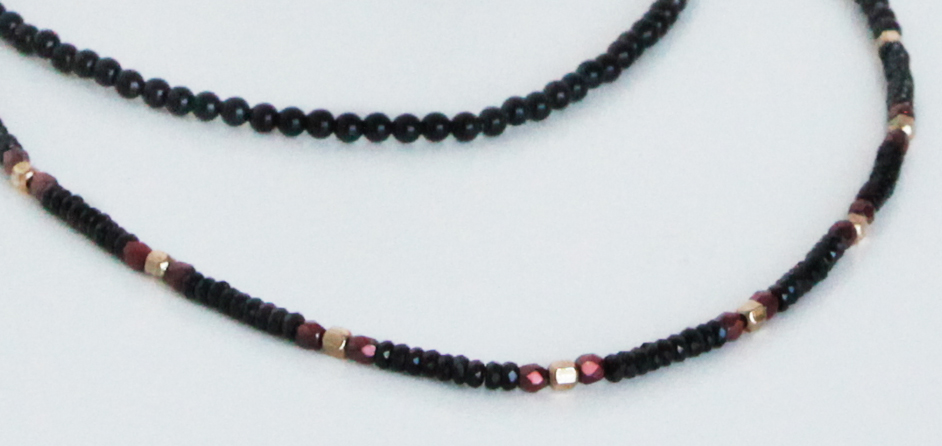 Black Spinel and Fire-Polished Glass