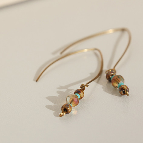 Boho Crystal Copper Earrings