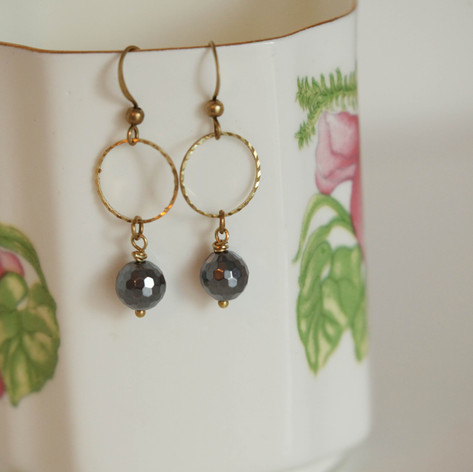 Glittering Boho-Chic Brass Earrings