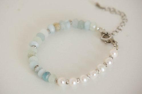 Aquamarine Bohemian Gemstone Bracelet