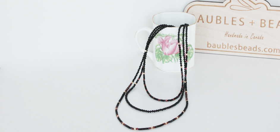 Black Spinel Triple Strand Necklace