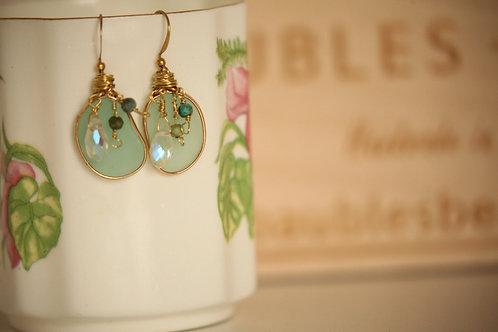 Green Handmade Artistic Earrings