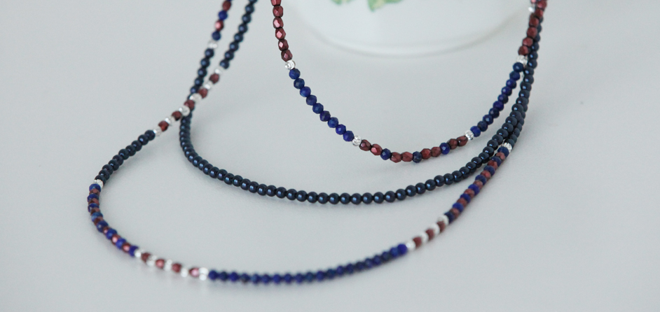 Lapis Lazuli Necklace with Swarovski pearls