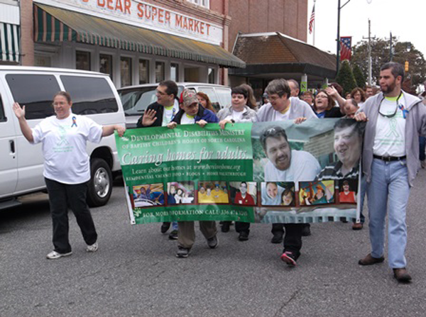 Beth and residents from BCH's multiple Developmental Disabilities Ministry homes participated in last year's Developmental Disabilities parade in Asheboro.