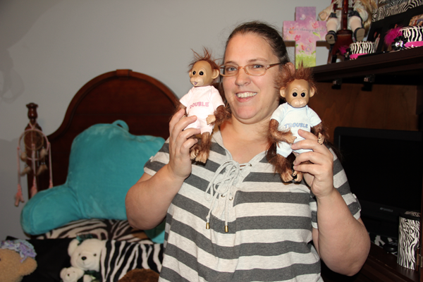 Beth's monkeys that are a part of her doll collection.