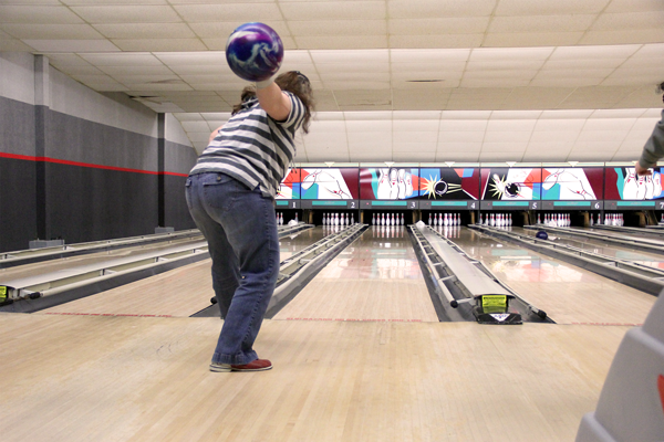 Letting her bowling ball fly.