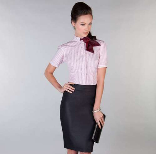 100% Cotton 100 2-ply shirt in red and white stripes, paired with black poly-viscose skirt in a black fabric with sheen.