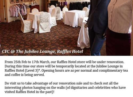CYC Raffles Hotel temporarily located at the Jubilee Lounge