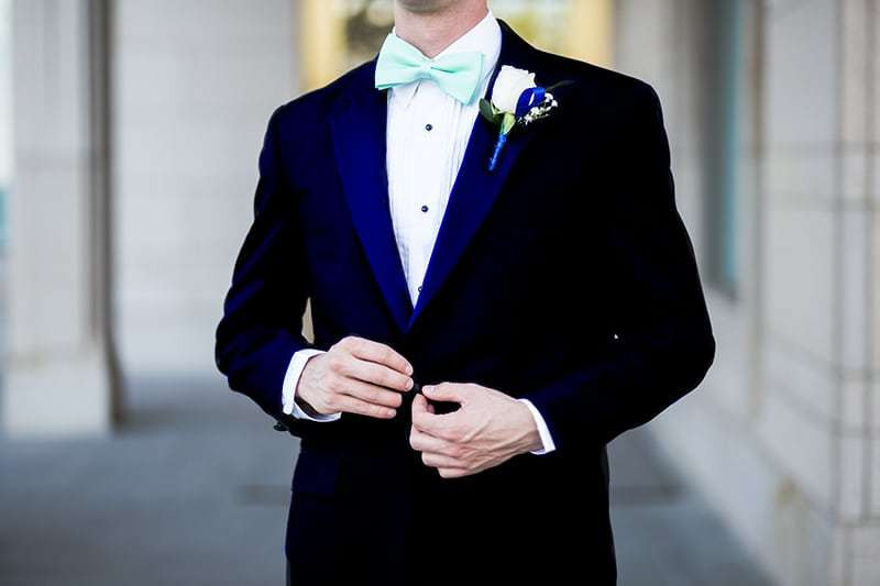 A Midnight Blue tuxedo suit - the pinnacle of elegance.
