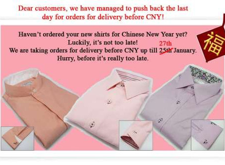 New shirts for Chinese New Year