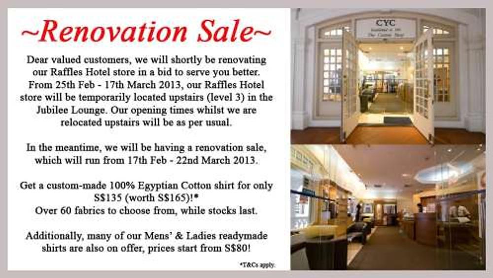 CYC Raffles Hotel - Renovation Sale!