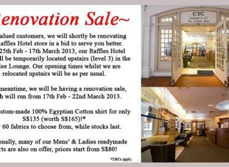 CYC Raffles Hotel – Renovation Sale!