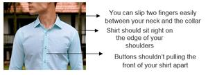 Shirt fitting infographic on model wearing CYC custom-tailored shirt.