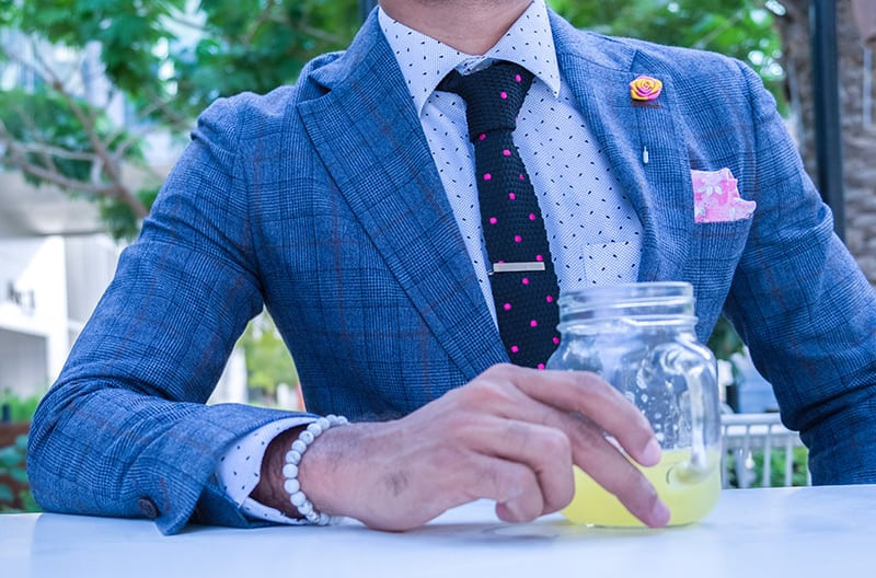 A blue checker suit for an afternoon's day out.