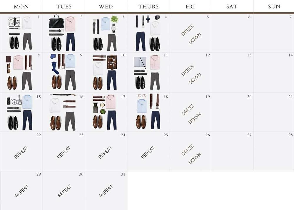Wardrobe Calendar