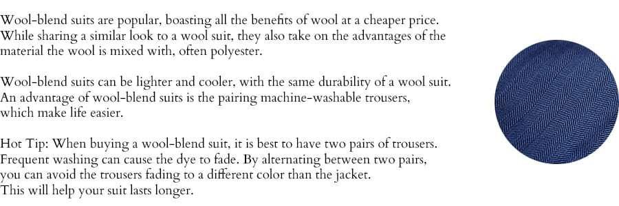 Wool blend suit description