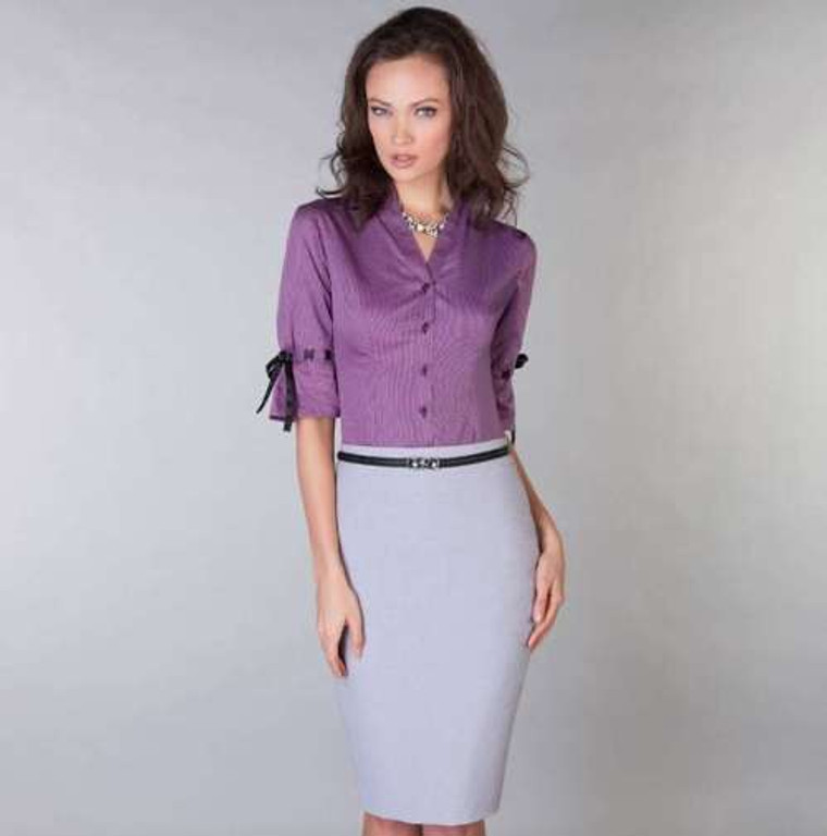 100% Egyptian Cotton easycare shirt in electric purple stripes, paired with a lilac grey skirt.