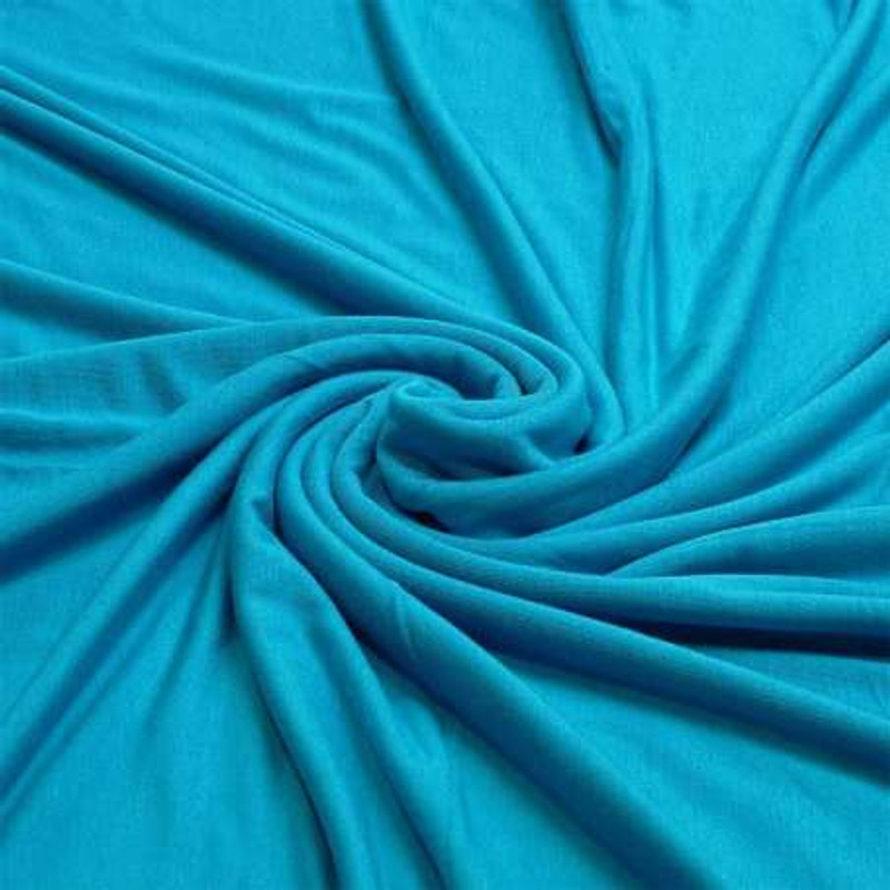 Close up of blue viscose fabric.