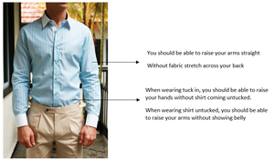 Shirt fitting infographic on model wearing CYC custom-tailored shirt and pants