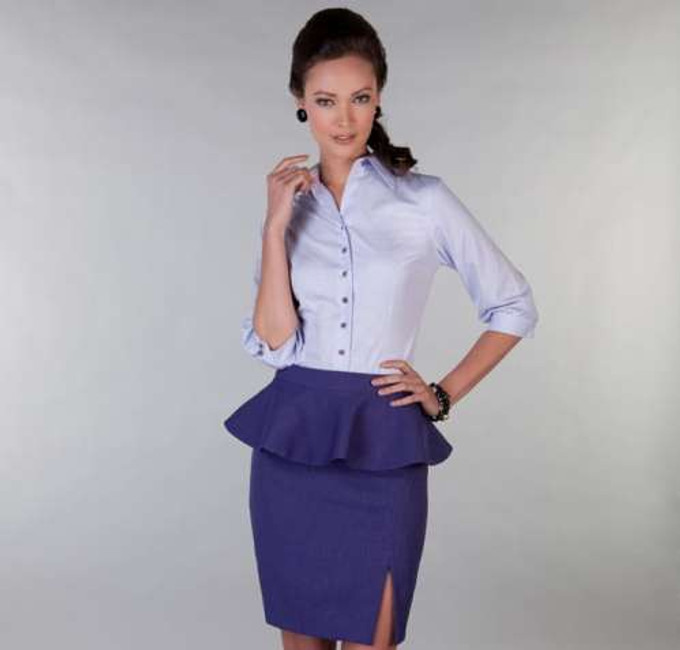 100% Egyptian Cotton easycare shirt in pale purple checks, paired with a royal purple detachable-peplum skirt with front slit.