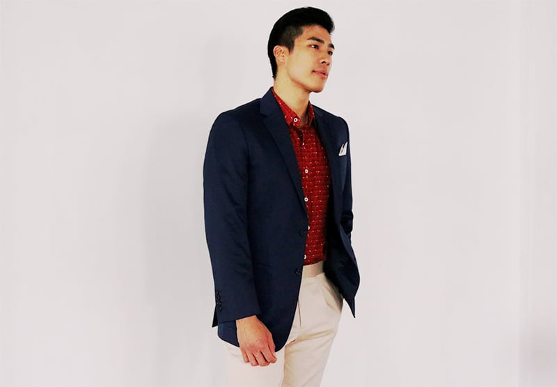 Navy Wool Suit with Tailored Beige Pants