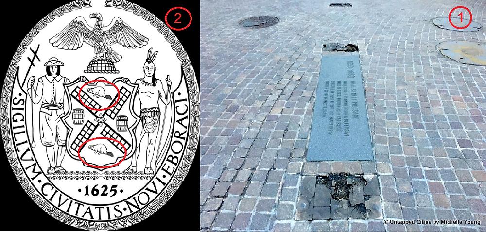 סמל העיר ניו יורק וסימוני יסודות החומה ב-wall street