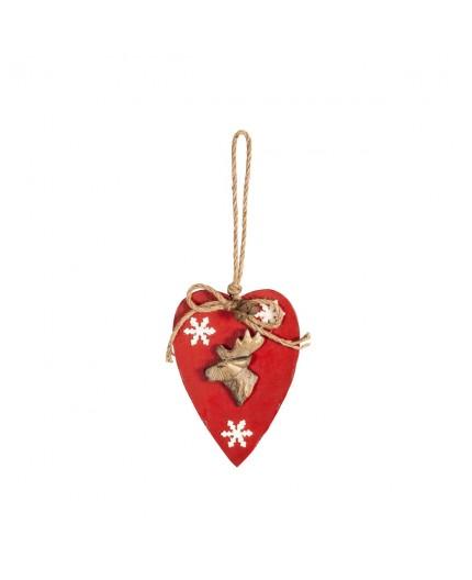 Coeur rouge avec tête de cerf à suspendr