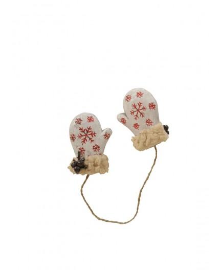 Paire de moufles décoratives blanches