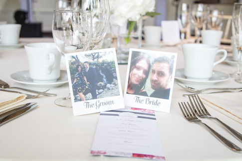 Old Brook barn, Bride & Groom table favours & personalised polaroid name places