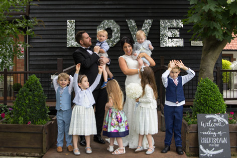 Bride & Groom with godchildren
