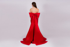 Prom N Party, Red satin bow backdetail dress