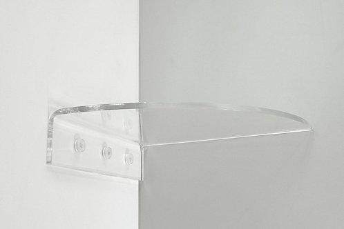 מדף זכוכית אקרילית פינתי שקוף מרחף