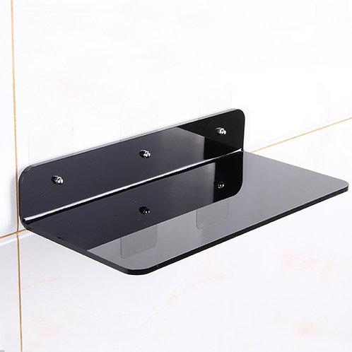 מדף זכוכית אקרילית מעוצב ישר שחור מרחף
