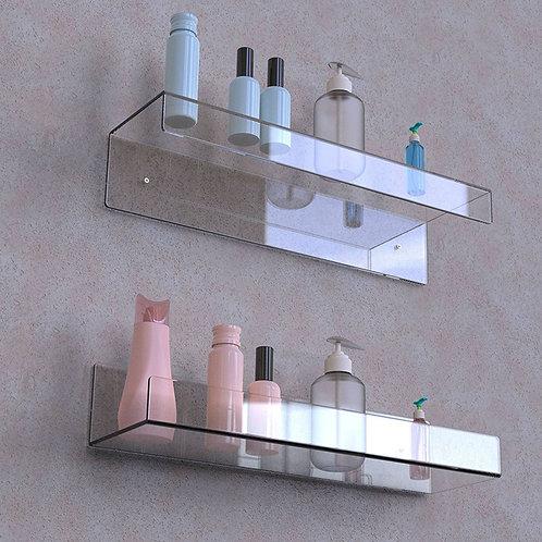 מדף זכוכית אקרילית ישר שקוף מרחף עם מחסום לחדרי אמבטיה