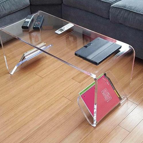 שולחן סלון\אירוח מעוצב מהמם ביופיו מזכוכית אקרילית קריסטלית