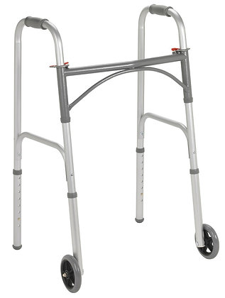 """Folding Walker, Two Button with 5"""" Wheels"""