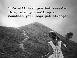 Life will test you but remember this, when you walk up a mountain your legs get stronger.