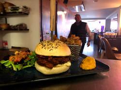 chicken burger au restaurant de la raskette