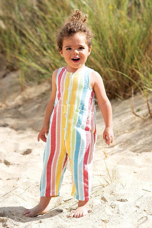 Frugi - Salopette arcobaleno in cotone leggero