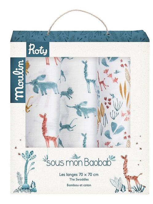 Moulin Roty -  Mussole bamboo e cotone biologico Savana 70cmx70cm - Pack da 3