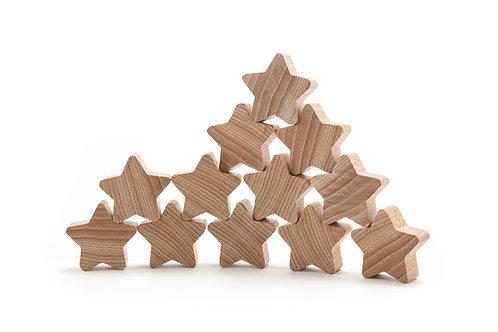 Ocamora - 12  Stelle in legno naturale