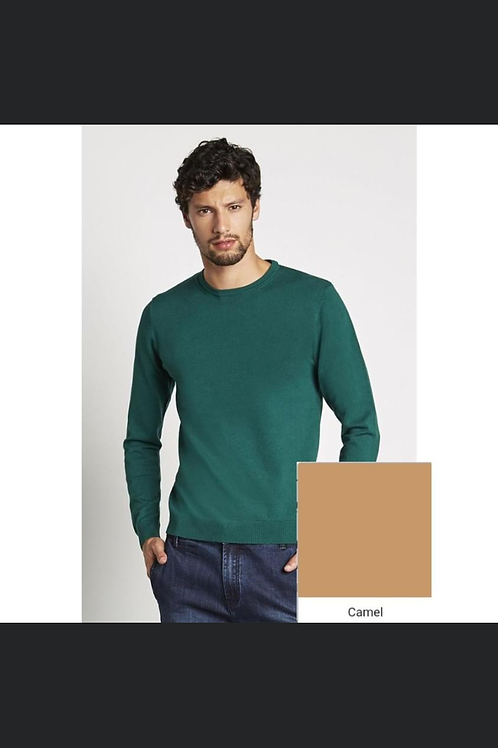 ROUND NECK SWEATER STRETCH FABRIC CAMEL