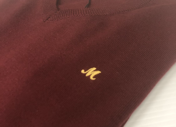 Mineral v neck Sweatshirt in burgundy