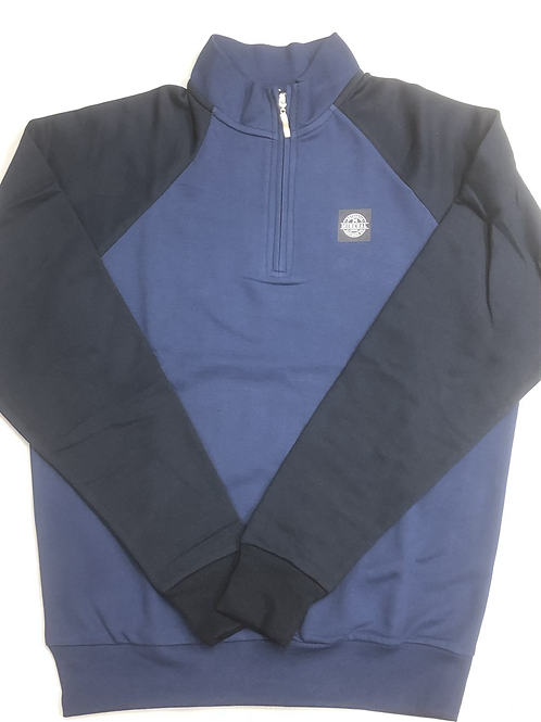 Mineral Gazi 1/4 Zip In navy and mid blue