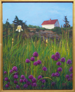 #28 - Monhegan Field with White House and Purple Flowers