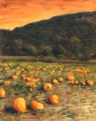 #32 - Pumpkin Field with Orange Sky